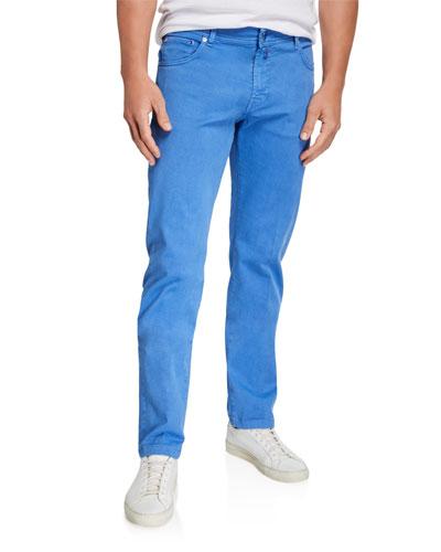 Men's Twill 5-Pocket Pants, Light Blue