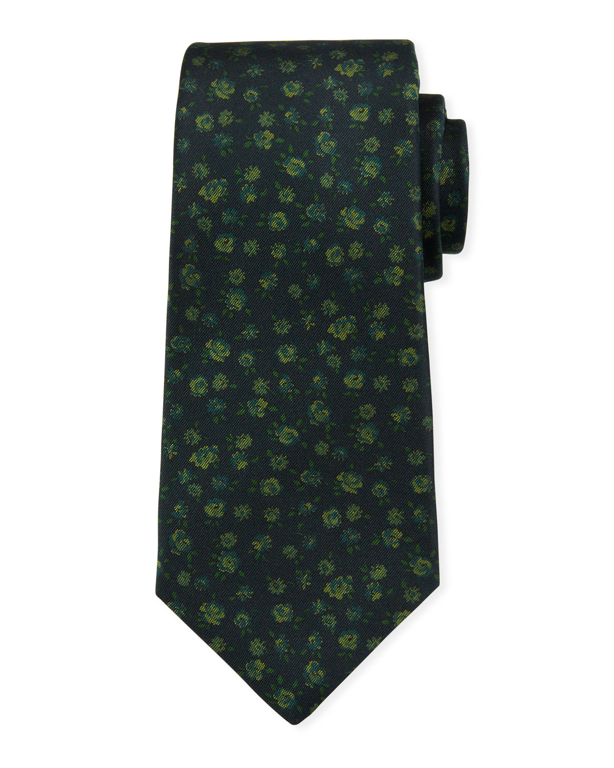 Kiton Ties MEN'S MINI FLORAL SILK TIE
