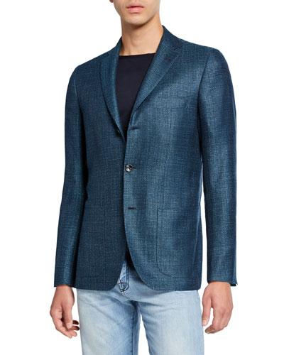 Men's Textured Cashmere-Blend Three-Button Jacket