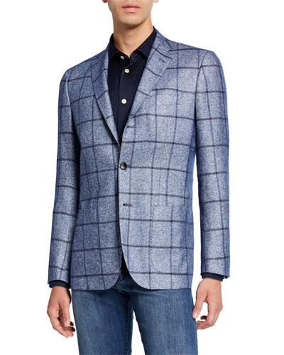 Men's Windowpane Silk/Cashmere Three-Button Jacket