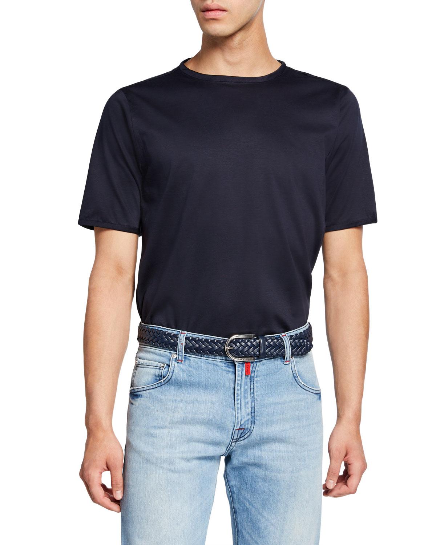 Kiton T-shirts MEN'S CREWNECK SHORT-SLEEVE COTTON T-SHIRT, NAVY