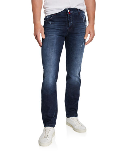 Men's Distressed Overstitch Jeans