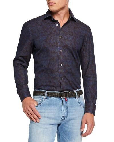 Men's Cotton Paisley-Print Sport Shirt