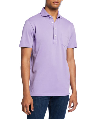 Men's Pocket Polo Shirt, Lavender