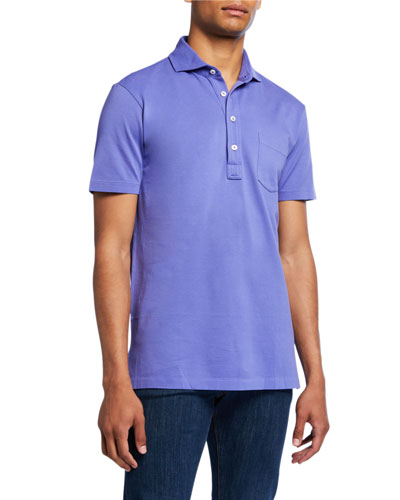 Men's Jersey Pocket Polo Shirt, Blue