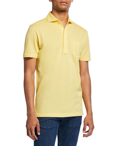 Men's Jersey Pocket Polo Shirt, Yellow