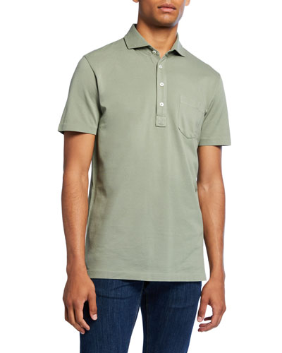 Men's Jersey Pocket Polo Shirt, Green