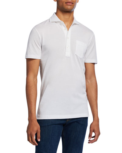 Men's Jersey Pocket Polo Shirt, White