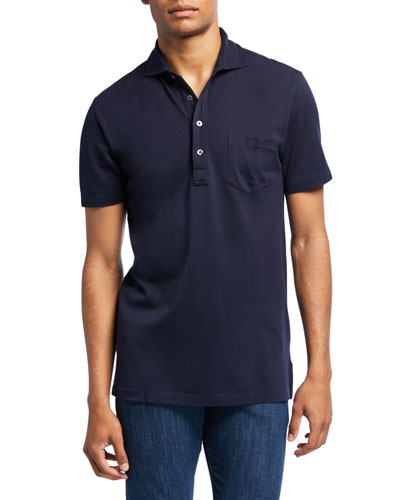 Men's Jersey Pocket Polo Shirt, Navy