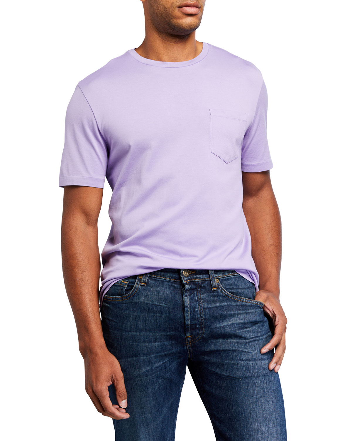 Ralph Lauren T-shirts MEN'S WASHED COTTON POCKET T-SHIRT, LAVENDER