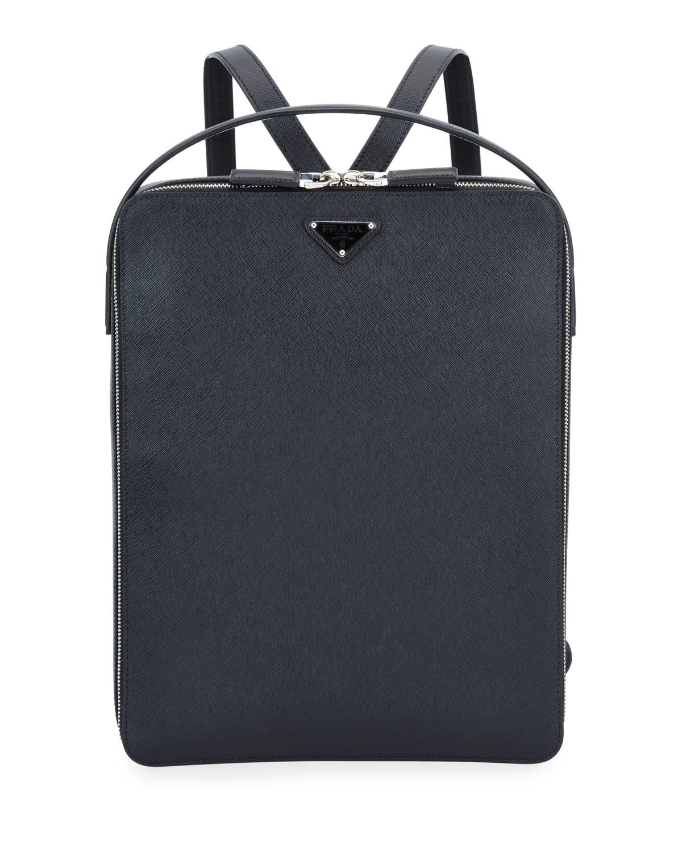 Prada Backpacks MEN'S LARGE SAFFIANO LEATHER SQUARE BACKPACK