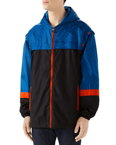Men's Colorblocked Nylon Wind-Resistant Jacket