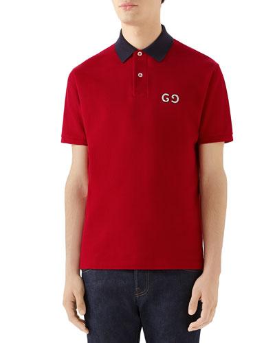 Men's Pique Polo Shirt w/ GG Patch