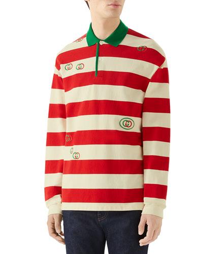 Men's Long-Sleeved Striped Logo Polo Shirt