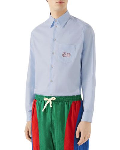 Men's Logo-Embroidered Oxford Shirt