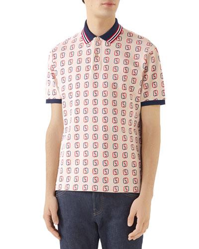 Men's GG Logo Cotton Pique Polo Shirt