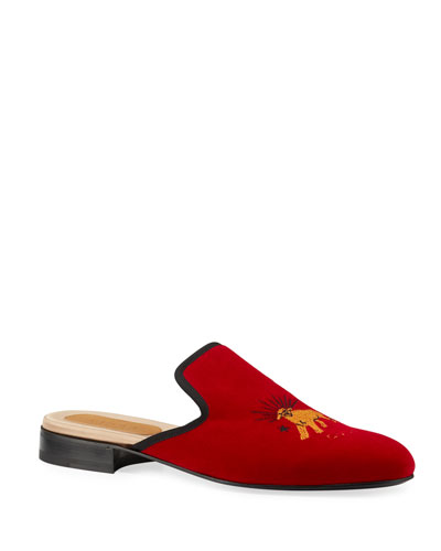 Men's Pantoufle Embroidered Suede Mule Slippers