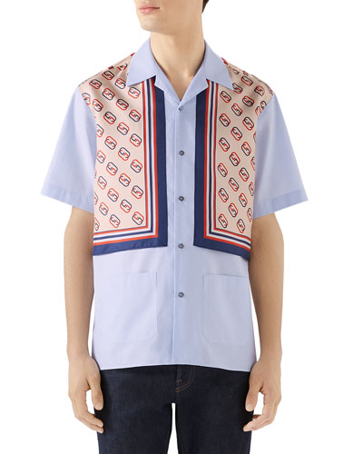 Men's Short-Sleeve GG-Panel Oxford Shirt