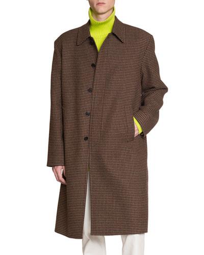 Men's Wool Houndstooth Soft-Shoulder Car Coat