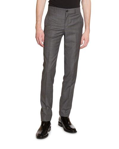 Men's Tailored Windowpane Wool Pants