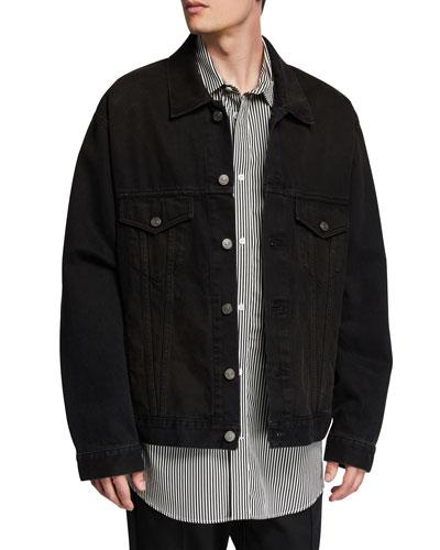 Men's Oversized Washed Denim Jacket with Lipstick Logo