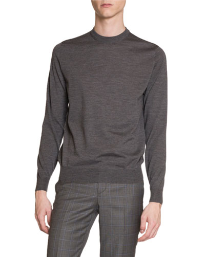 Men's Crewneck Sweater w/ Logo Intarsia