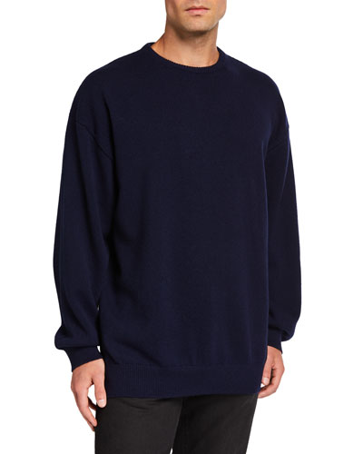 Men's Cashmere Crewneck Sweater with Lipstick Logo on Back