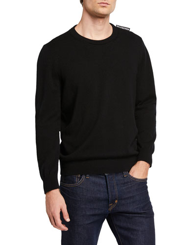 Men's Cashmere Crewneck Sweater w/ Logo Tab