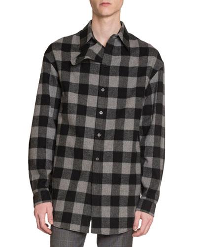 Men's Buffalo Check Flannel Oversized Shirt
