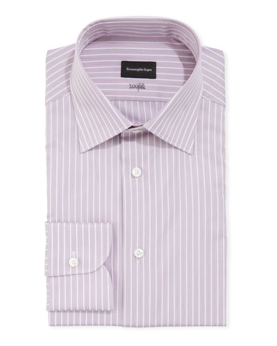Men's 100fili Striped Cotton Dress Shirt