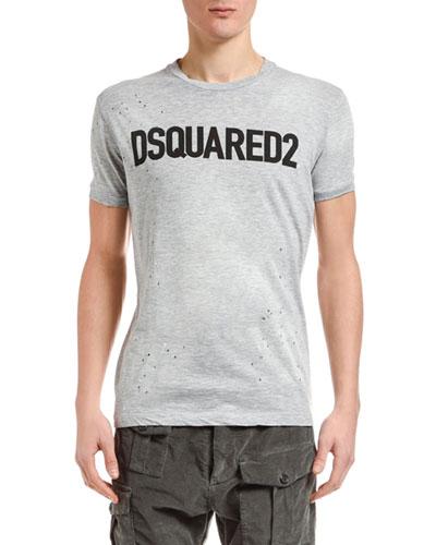 Men's Paint-Splatter Logo Typographic T-Shirt