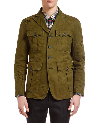 Men's Distressed Chino Field Jacket