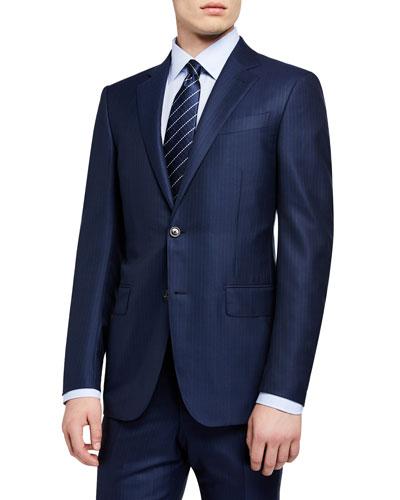 Men's Regular-Fit Textured Stripe Two-Piece Suit