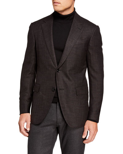 Men's Wool/Silk Hopsack Blazer