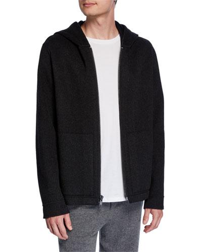 Men's Zip-Front Cashmere Hoodie Jacket
