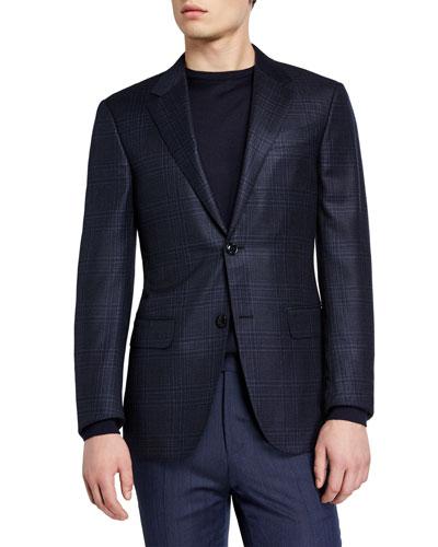 Men's Tonal Large Plaid Blazer