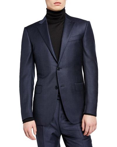 Men's Regular-Fit Tonal Plaid Two-Piece Suit