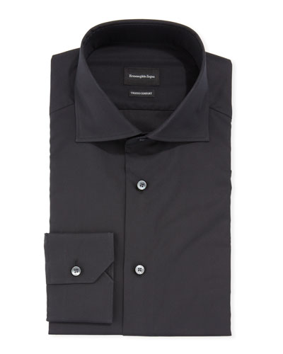 Men's Milano-Fit Trofeo Comfort Solid Cotton Dress Shirt