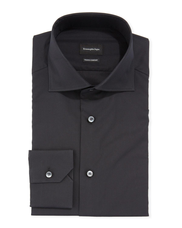 Ermenegildo Zegna Dresses MEN'S MILANO-FIT TROFEO COMFORT SOLID COTTON DRESS SHIRT