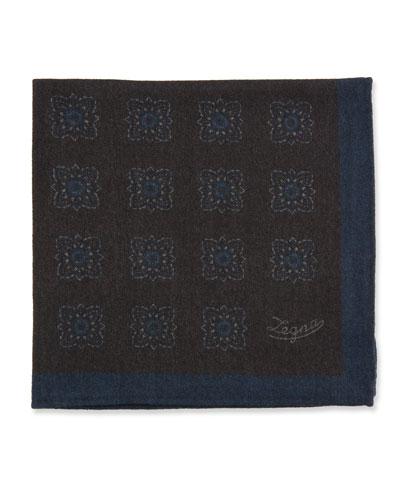 Men's Reversible Wool Pocket Square, Brown