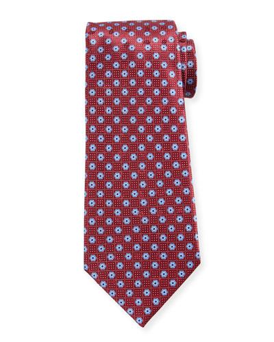 Men's Hexagon-Print Silk Tie, Red