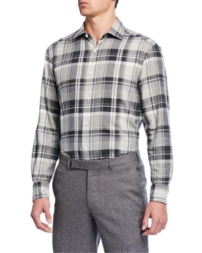 Men's Tartan Plaid Cotton Trim-Fit Sport Shirt