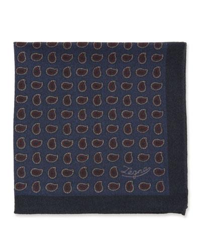 Men's Blue Pines Reversible Wool Pocket Square