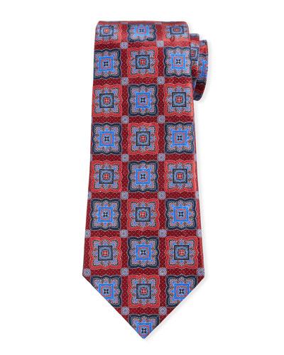 Men's Medallion-Print Silk Tie, Red