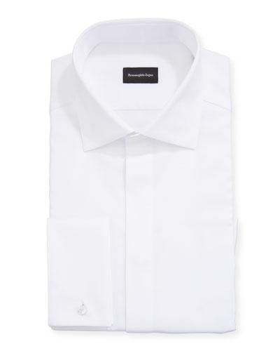 Men's Solid Hidden-Button Formal Dress Shirt