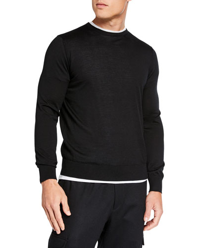 1728e96497 Men's Lightweight Cashmere/Silk Sweater, Black