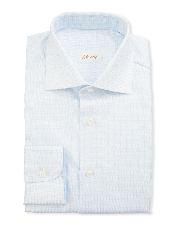 Brioni Dresses MEN'S 3-LINE CHECK DRESS SHIRT