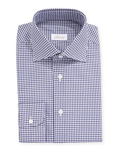 Men's Gingham Check Long-Sleeve Dress Shirt
