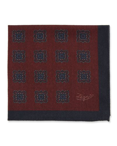 Men's Reversible Wool Pocket Square, Burgundy