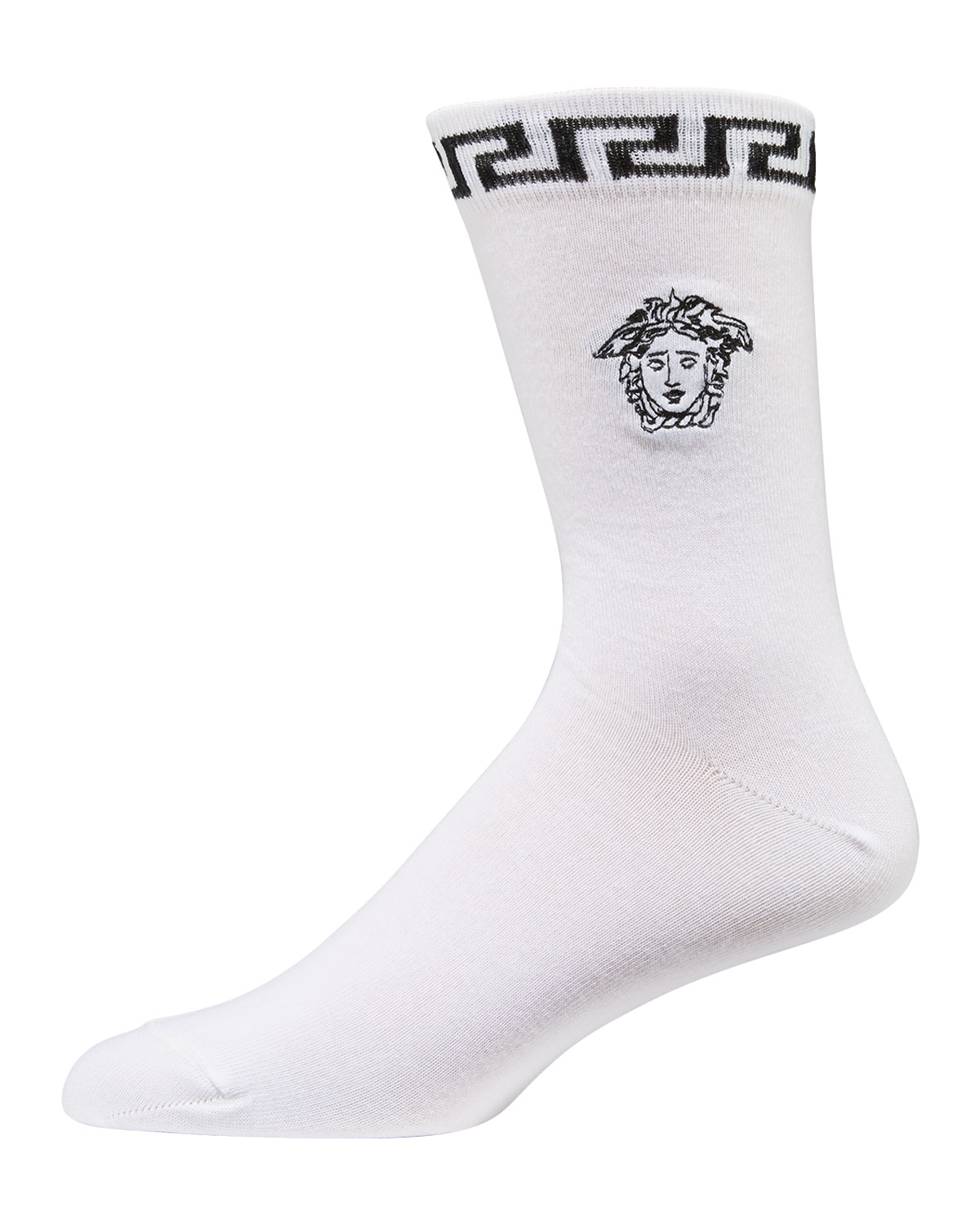 Versace Men's Signature Medusa Head/Greek Key Socks In White/Black